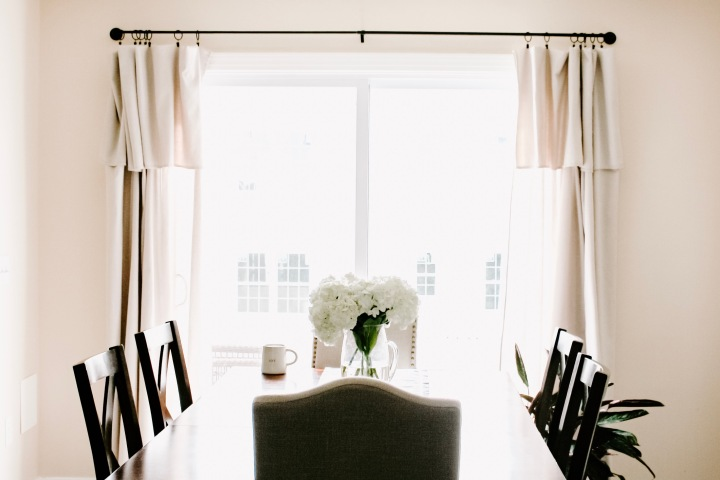 DIY Inexpensive, No-Sew Farmhouse Canvas Curtains