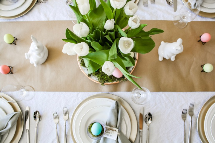 Easy Easter Tablescape + Freebie Napkin Rings