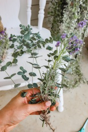 Start with a sprig of eucalyptus and lavender.