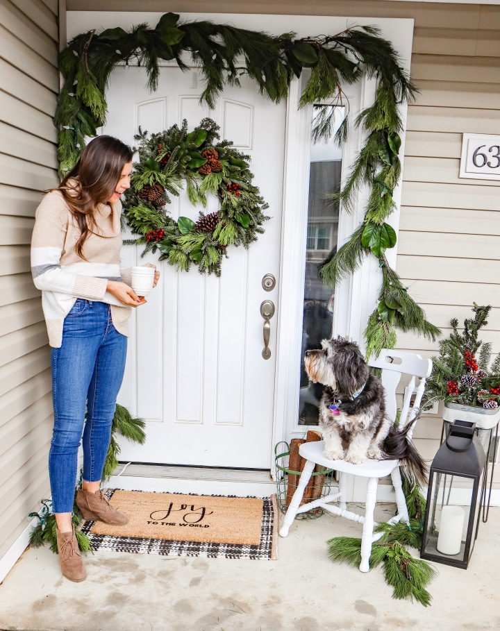 Christmas Styled Front Door + Real Talk