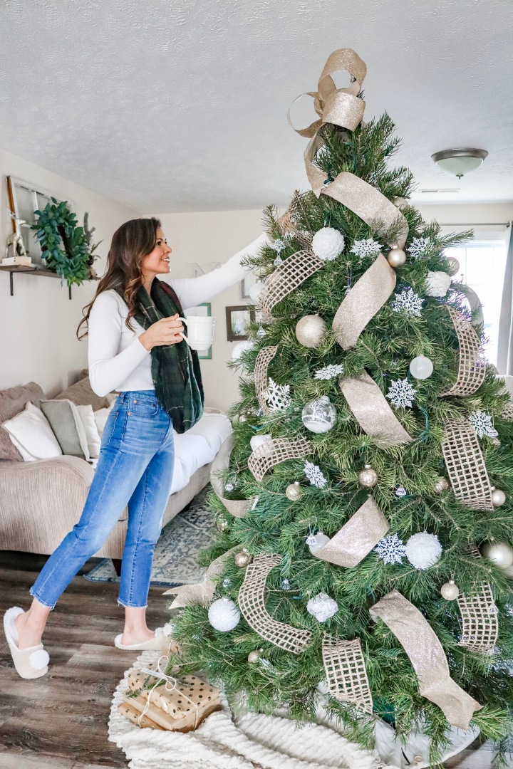 How to Decorate a Neutral Live Christmas Tree