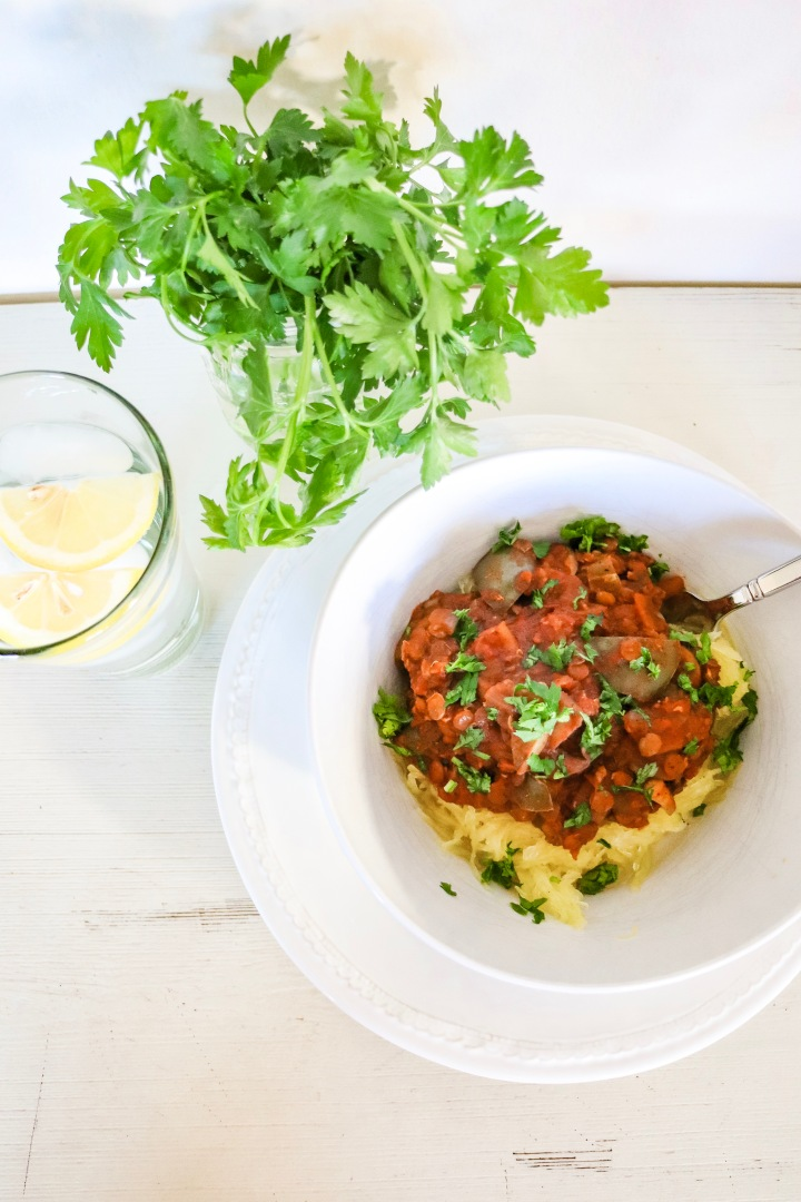 Vegan Bolognese + Roasted Spaghetti Squash Recipe